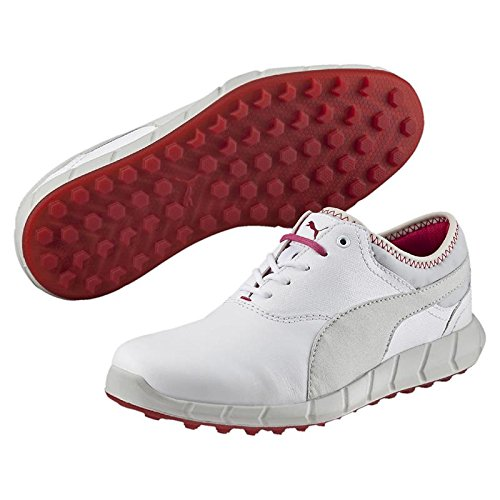 PUMA Golf Women's Ignite Golf White/Glacier Gray/Rose Red Sneaker 9.5 B (M)