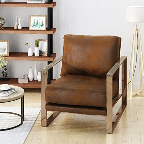 Christopher Knight Home Armstrong Modern Microfiber Club Chair, Brown
