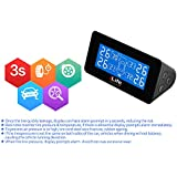 iLife™ Universal Solar TPMS, Wireless Tire Pressure Monitoring System with 4 DIY External Cap Sensors(0-6Bar/0-87Psi), Real-time Display 4 Tires' Pressure and Temperautre.