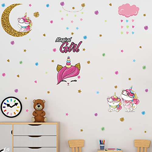 2 Sheets Unicorn Wall Decals Cute DIY Removable Unicorn Wall Stickers Pill and Stick Wall Decor Colorful Wall Art Mural for Boys Girls Kids Bedroom Living Room Nursery Room Home Decor (Catcorn)