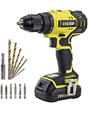 CACOOP 20V Cordless Brushless Drill/Driver Set, 1/2 Inch All Metal Keyless Chuck, 2-Variable Speed, Compact, Includes 1)2.0Ah Li-Ion Battery, 1)Rapid Charger, 6)Wood drill bit&6)Screw Bit (CCBD20001L)