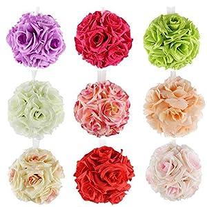 XGM GOU 5Pcs 13Cm Artificial Silk Flower Rose Kissing Balls Bouquet Centerpiece Pomander Party Wedding Centerpiece Decorations 58