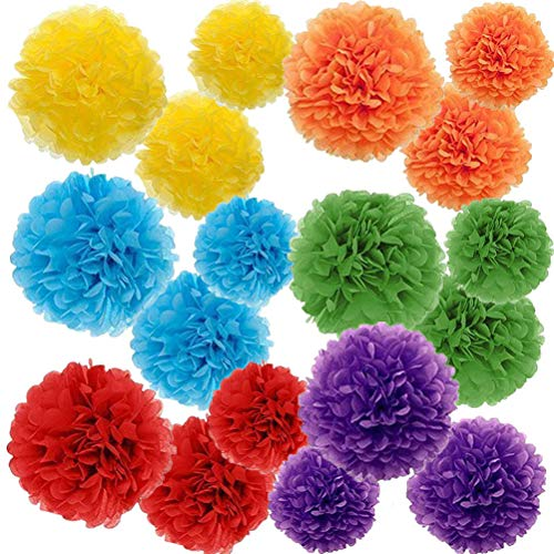 Paper Pom Poms Color Tissue Flowers Birthday Celebration Wedding Party Halloween Christmas Outdoor Decoration,18 pcs of 10 12 14 Inch -