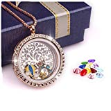 PWMEN Rose Gold Necklace,Family Tree of Life Floating Charm Living Memory Lockets Magnetic Closure Necklace All Birthstone Charms Include(Rose Gold)