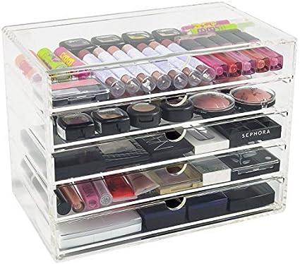 CO-Z Organizador de Maquillaje Caja Acrílica para Cosméticos con Cajones para Accesorios de Maquillaje Transparente con 5 Cajones Caja de Almacenamiento de Joyas Ahorro de Espacio: Amazon.es: Oficina y papelería