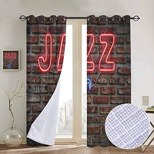 NUOMANAN Window Blackout Curtains Music,Image of Alluring Neon All Jazz Sign with Saxophone Instrument on Brick Wall Print, Red Blue,for Room Darkening Panels for Living Room, Bedroom 84