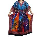 Womens Maxi Caftan Colorful Printed Kimono Resortwear Boho Kaftan Cover Up