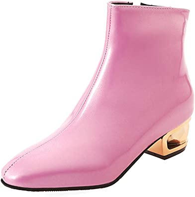 ChyJoey Womens Patent Leather Ankle Boots Metal Low Heel Square Toe Zipper Fashion Winter Short Booties