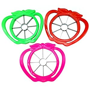 BESTCYC New Style Multipurpose Stainless Steel Blades and Comfortable Plastic Frame Apple Slicer Corer Fruit Cutter Divider - Set of 5pcs