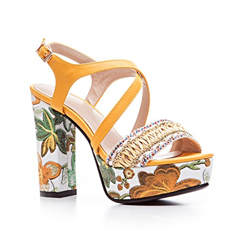 Women's High Heeled Thick Heel 4 Color T-Strap Platform Open-toe Embroidered (T-strap Mini Platform)