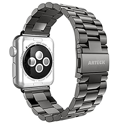 Apple Watch Band, Arteck 42mm Stainless Steel Strap Wrist Metal Band Replacement w/ Metal Clasp for iWatch Apple Watch All Models 42mm (Space Gray)