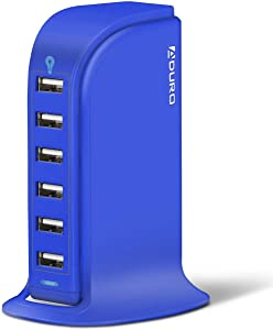 Aduro 40W 6-Port USB Desktop Charging Station Hub Wall Charger for iPhone iPad Tablets Smartphones with Smart Flow (Blue)