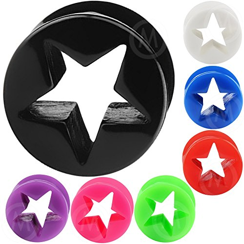 1/2 Inch gauges ear plugs flesh tunnels double flare star expander stretcher MoDTanOiz 12mm
