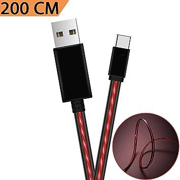 Cable USB Tipo C, Areson 6.6FT Flujo Visible USB A a USB C Cable Cargador Cargador rápido para Samsung Galaxy Note 8 S8 Plus, LG G5 G6 V30, HTC 10, ...