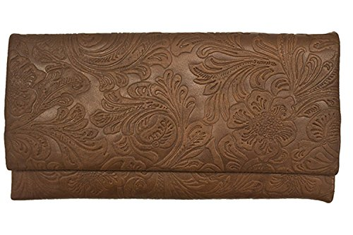 ili Leather 7603 Embossed Fold Over Wallet with RFID Lining (Toffee) ()