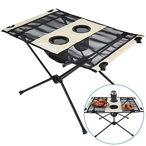 Geezo Lightweight Portable Foldable Camping Side Table with Cup Holders, Nylon Fabric Table Top and Aluminum Alloy Frame, Easy to Assemble and Clean, Compact and Durable Unfolded 22.4 x 15.8 x 15