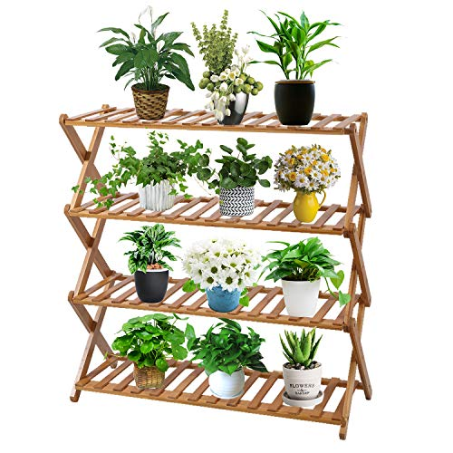 Sonyabecca 4 Tier Plant Stand Shelf Folding Bamboo Shoe Rack Flower Pots Display Stand Shelves Storage Organizer for Garden Patio Indoor/Outdoor