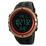 TONSHEN Men's Digital Sports Watch Waterproof 50M 164FT LED Electronic Display Outdoor 12H/24H Time Military Watch Backlight 100/1 Stopwatch Calendar Date Plastic Watch with Rubber Strap