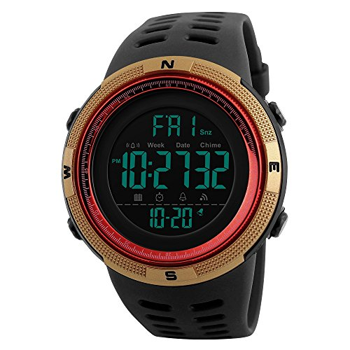 (TONSHEN Men's Digital Sports Watch Waterproof 50M 164FT LED Electronic Display Outdoor 12H/24H Time Military Watch Backlight 100/1 Stopwatch Calendar Date Plastic Watch with Rubber Strap (Gold))