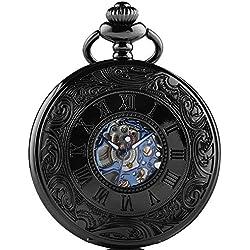 Roman Retro steampunk mechanical Hand-wind Blue Skeleton Pocket Watch with Chain Gift Box CHPW01