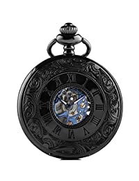 Carrie Hughes Retro Roman Steampunk Mechanical Skeleton Hand-wind Blue Pocket Watch with Chain CHPW01