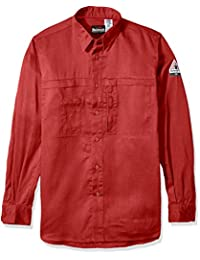 Bulwark Men's Iq Series Comfort Woven Concealed Pocket Shirt, Red, Medium