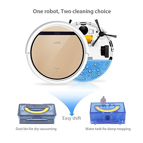 ILIFE V5s Robotic Vacuum Cleaner with Water Tank Mop, Mopping Floor Scrubbing Robot