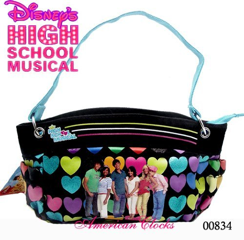 High School Musical Dress Up (HIGH SCHOOL MUSICAL PURSE, BLACK WITH MULTICOLOR HEARTS)