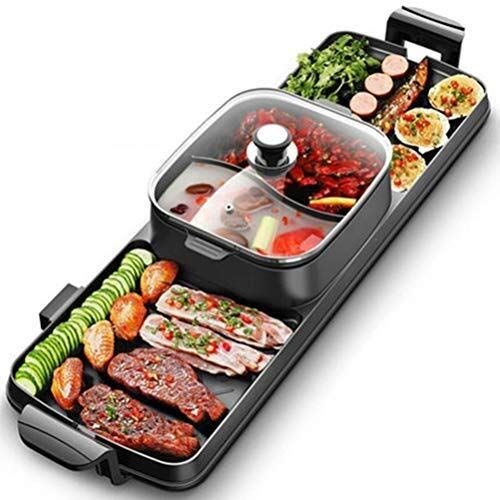 ZPWSNH BBQ Hot Pot, Multi-Function Dual Control Intelligent Adjustment Barbecue Conjoining Pot, Large Capacity Maifan Stone Smokeless Elliptical Long Hot Pot Barbecue Pot by ZPWSNH