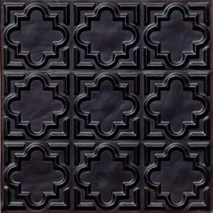 142 faux ceiling tile glue up 24x24 black for Black tin backsplash