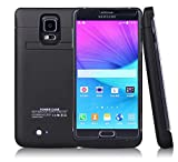 Novpeak 4800mAh External Power Bank Charger Backup Battery Case with Kickstand for Samsung Galaxy Note 4 - Black