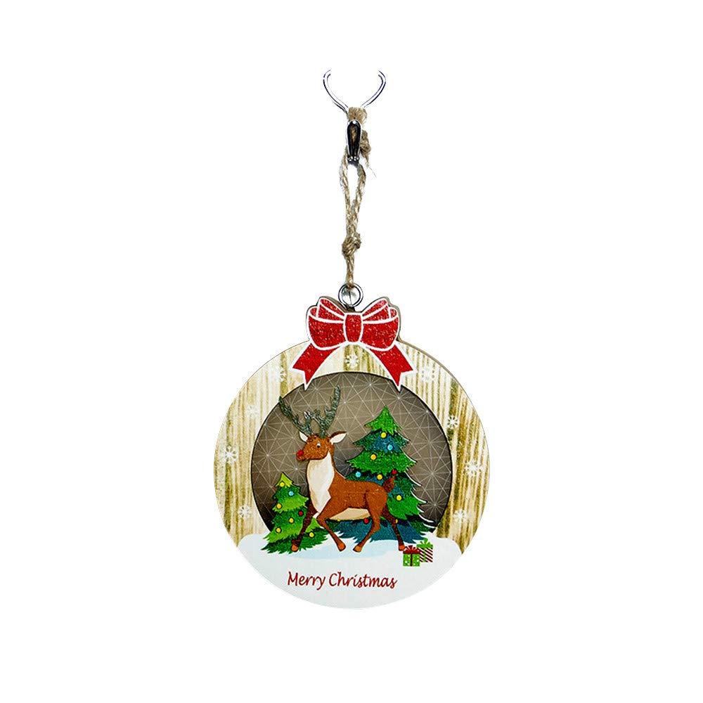 Christmas Light,JDgoods Wooden Decorative Light Board Christmas Light Festival Party Decoration Ornament (D)