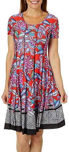 (Sami & Jo Womens Floral Geometric Print Panel Dress X-Large Red/Blue/Black/White)
