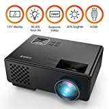 Projector, FUNAVO RD-815 LED Mini Video Projector for Multimedia Home Theater, Supports 1080P, Laptops, Smartphones, Amazon Fire TV Stick & DVDs via HDMI, USB, VGA & AV (Black)