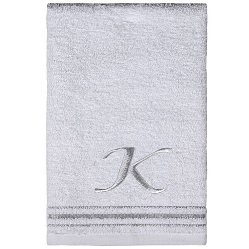 (Saturday Knight Classic Script Monogram White Turkish Cotton Towel, 16-Inch by 25-Inch Hand Towel, Set of 2, Letter K)