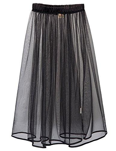 Women's Sexy Tulle Sheer Elastic High Waist A Line Mesh Skirt (S,Black)
