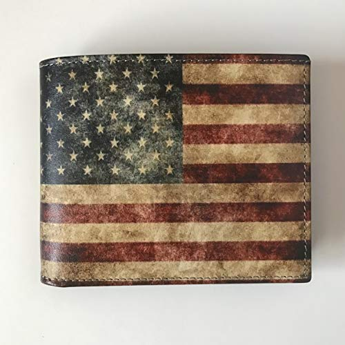 AMERICAN Flag Wallet Men's Wallet with US Flag Genuine Leather Made in USA
