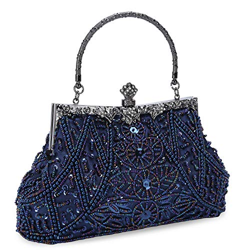 Clocolor Evening Bag and Clutches for Women Beaded Sequin Wedding Purse Party Bridal Handbag (Royal Blue) ()