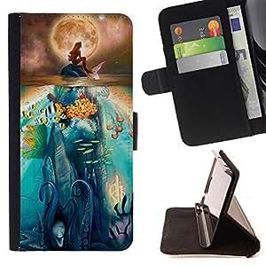 Dragon Case- Caja de la carpeta del caso en folio de cuero del tir¨®n de la cubierta protectora Shell FOR Samsung Galaxy S5 Mini SG870a, SM-G800- Million Fish Sea Mermaid