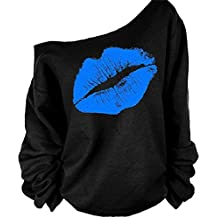 MAGICMK Woman's Sweatershirt Lips Print Causal Offer The Shoulder Slouchy Pullover