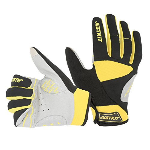 JUSTKIT Cycling Gloves -Touch Screen Full Finger Bike Gloves - Windproof Mountain Bike Gloves - Road Racing Bicycle Gloves - Gel Pad Biking Gloves For Women and Men ()