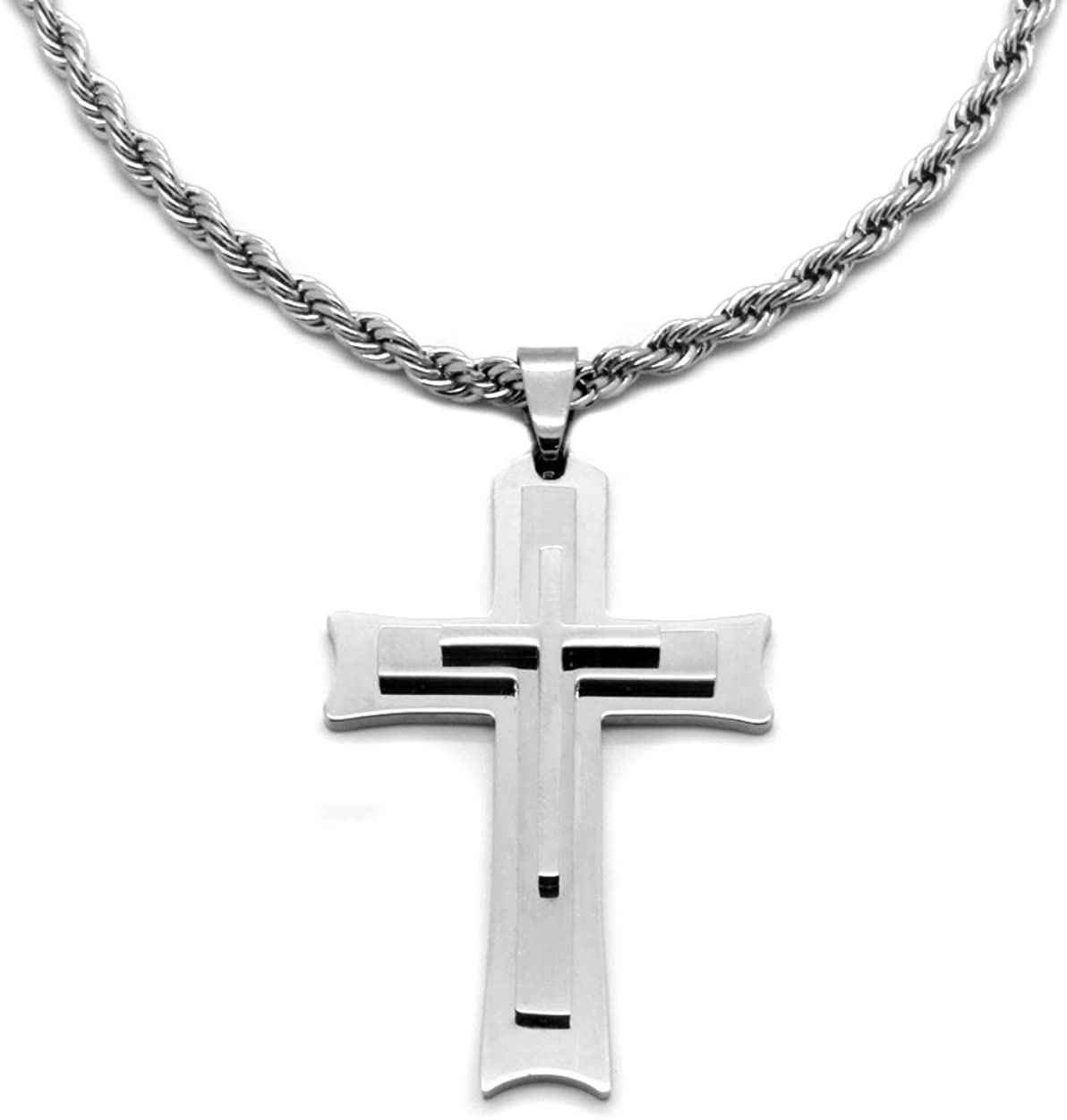 Mens Stainless Steel Shield and Corss Style Men Pendant With Chain Necklace MN44