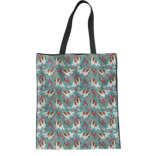 HUGS IDEA Teen Girl Fashion Cloth Tote Bag Cocker Spaniel Casual Shoulder Bag School Bookbags