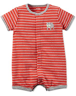Carter's Red Stripe Bulldog Romper 6 Months