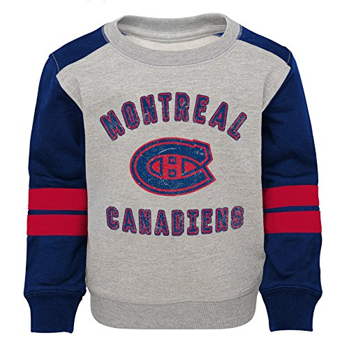 NHL Montreal Canadiens Toddler Retro Crew Sweatshirt, 4T, Heather Grey (Hockey Montreal Nhl)