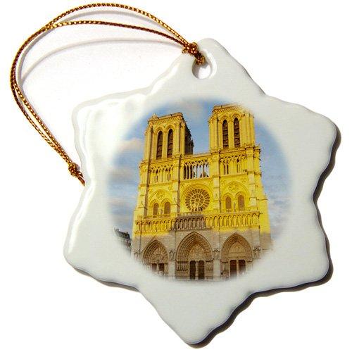 3dRose orn_135903_1 Setting Sun, Cathedral Notre Dame, Paris, France Eu09 Bjn0123 Brian Jannsen Snowflake Ornament, Porcelain, 3-Inch by 3dRose