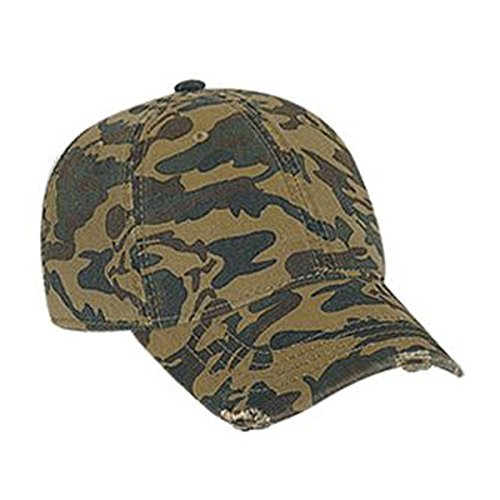 Otto Caps Youth Camouflage Superior Garment Washed Cotton Twill Distressed Visor Low Profile Pro Style Cap Pro Style Twill Visor