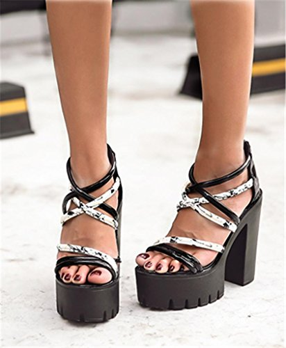 New Sandals Chunky Ankle Womens Toe Black Ladies Rome High Strap Shoes Open HETAO Personality Platform Heel Gift Straps Size Girl's A5qw16