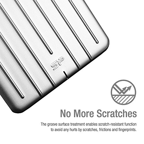 "Silicon Power 1TB Ultra Slim Armor A75 Shockproof/Anti-Scratch USB 3.0 (USB 3.1 Gen 1) 2.5"" Portable External Hard Drive for for PC, Mac, Xbox One, Xbox 360, PS4-Aluminum, Silver"