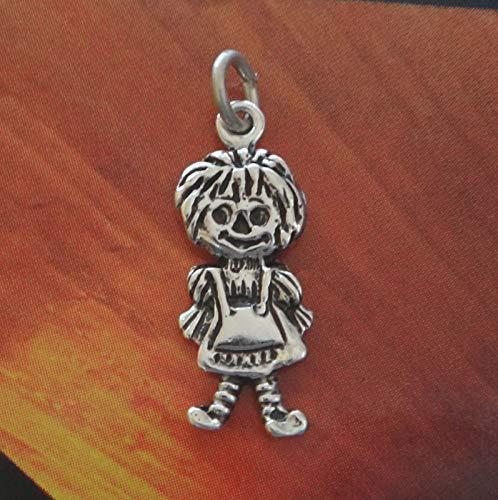 Sterling Silver 20x7mm Small Raggedy Ann Rag Doll Charm Flat Double Sided (Raggedy Ann Charm)